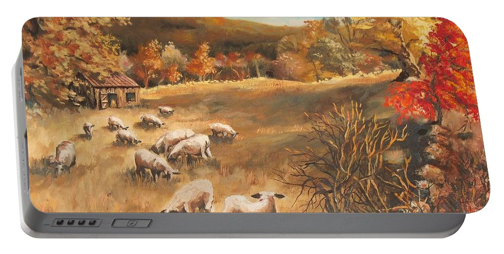 Oil Painting Portable Battery Charger featuring the painting Sheep in October's field by Joy Nichols