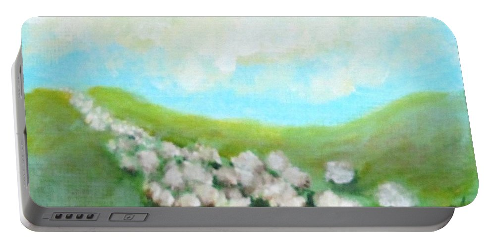 Sheep Portable Battery Charger featuring the painting Sheep On The Move by Laurie Morgan