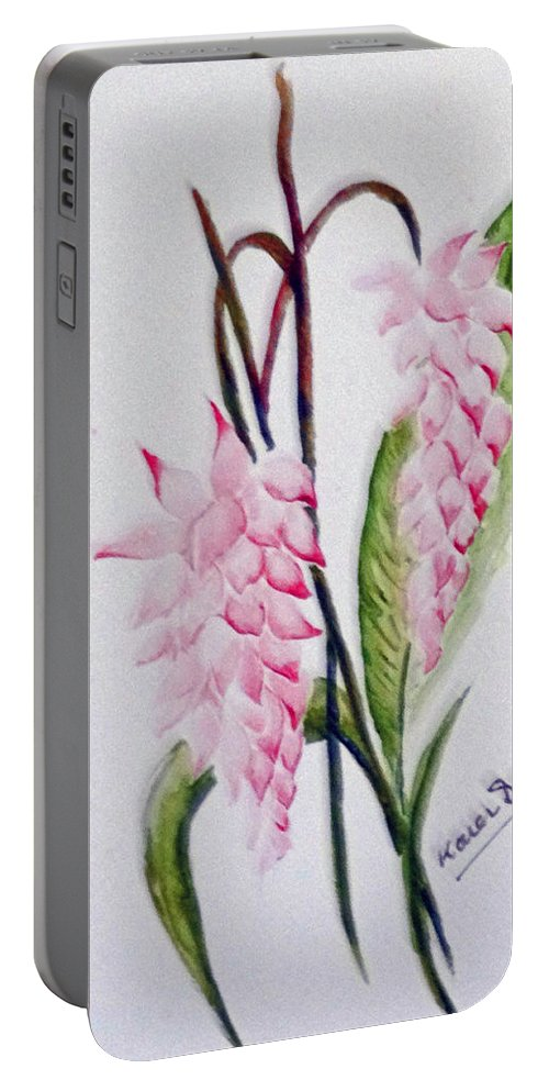Tropical Ginger Portable Battery Charger featuring the painting Shell Ginger by Karin Dawn Kelshall- Best