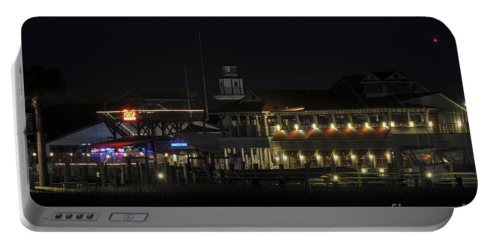 Shem Creek Portable Battery Charger featuring the photograph Shem Creek At Night by Dale Powell