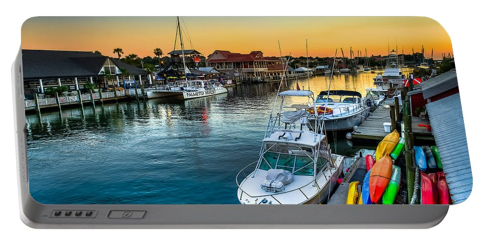 Shem Creek Portable Battery Charger featuring the photograph Shem Creek Sunset by Curtis Cabana