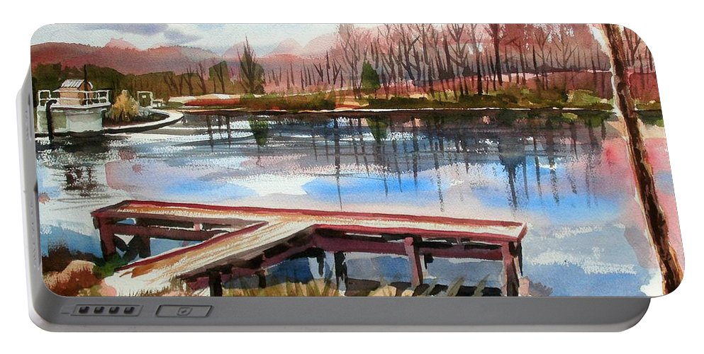 Shepherd Mountain Lake In Winter Portable Battery Charger featuring the painting Shepherd Mountain Lake In Winter by Kip DeVore
