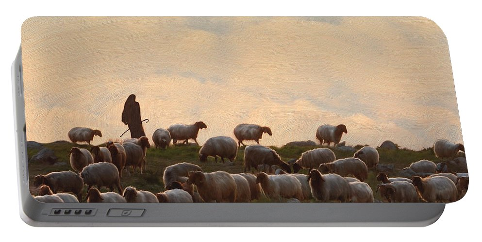 Sheep Art Portable Battery Charger featuring the painting Shepherd With Sheep Standard Size by Constance Woods