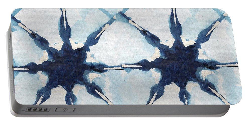 Shibori Portable Battery Charger featuring the digital art Shibori II by Elizabeth Medley