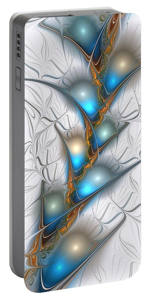 Shimmering Portable Battery Charger featuring the digital art Shimmering Lights by Anastasiya Malakhova