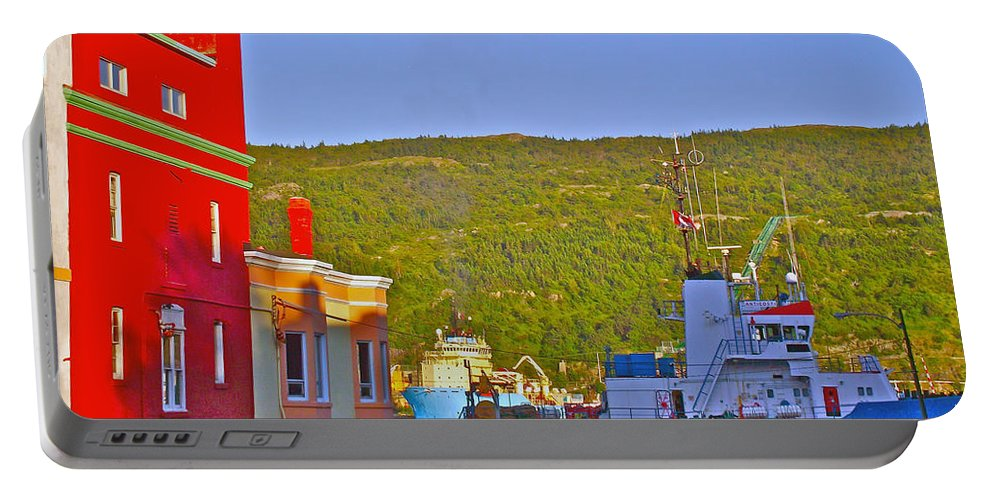Ship At The End Of Water Street In Saint John's Portable Battery Charger featuring the photograph Ship At The End Of Water Street In Saint John's-nl by Ruth Hager