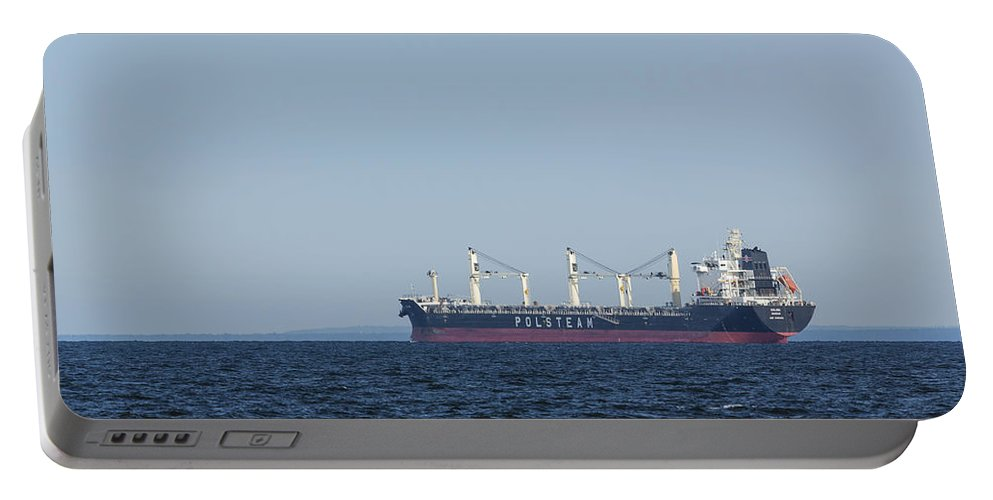 Solina Portable Battery Charger featuring the photograph Ship On Lake Superior 5 by John Brueske