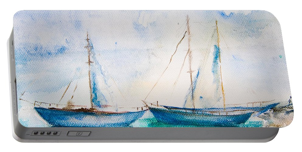 Art Portable Battery Charger featuring the painting Ships In The Sea by Regina Jershova