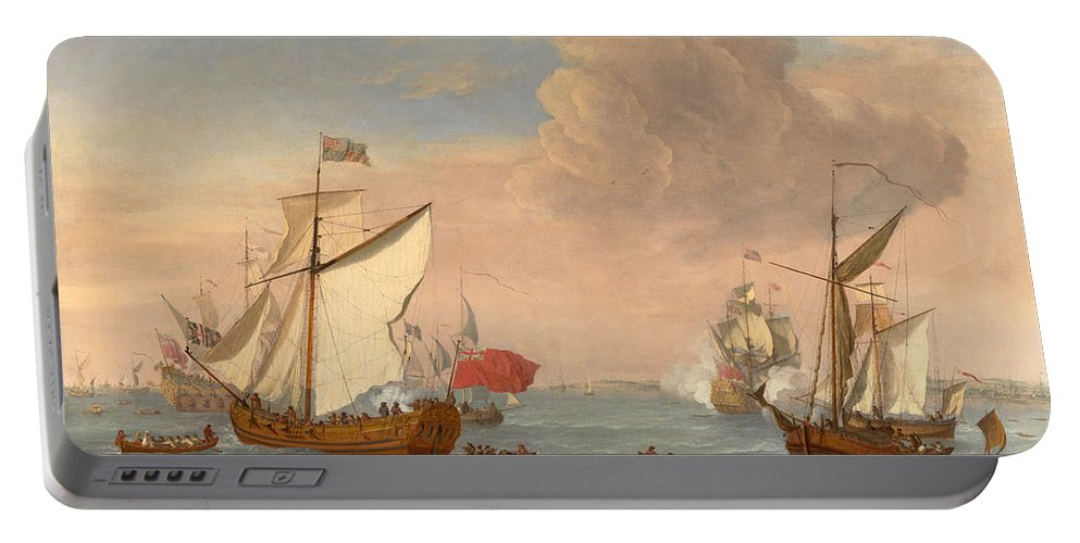 Isaac Sailmaker Portable Battery Charger featuring the painting Ships In The Thames Estuary Near Sheerness by Isaac Sailmaker