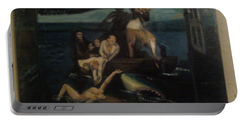 Portable Battery Charger featuring the painting Shipwrecked Psyche Unfinished by Jude Darrien