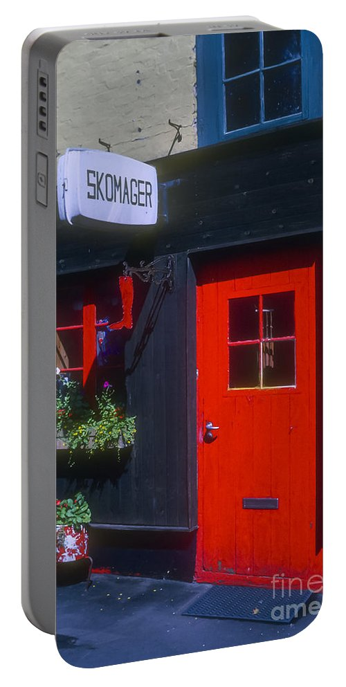 Shoe Repair Shop Shops Door Doors Building Buildings Structure Structures Architecture Window Windows Copenhagen Denmark Store Stores Portable Battery Charger featuring the photograph Shoe Repair Shop by Bob Phillips