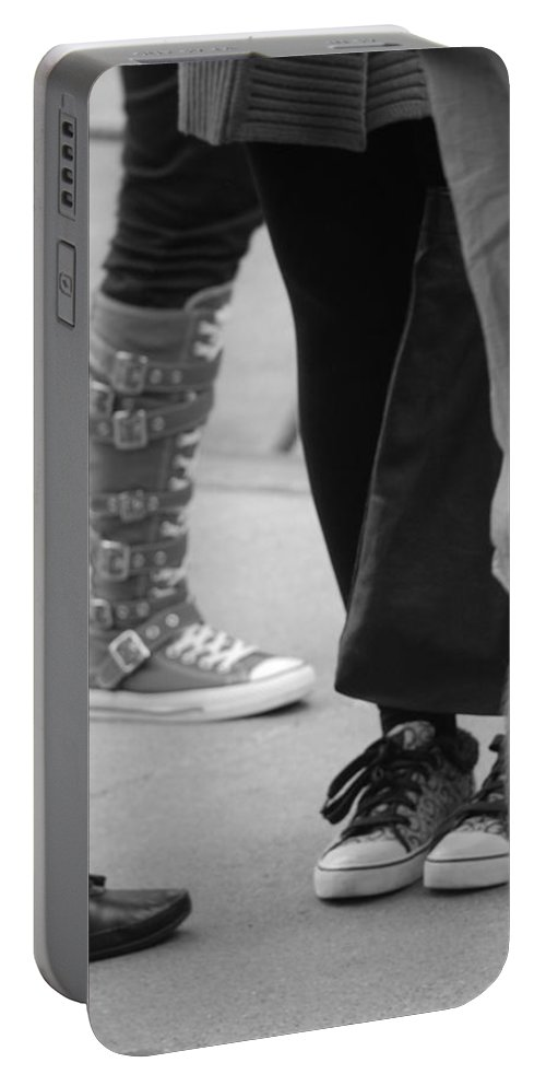 Shoes Portable Battery Charger featuring the photograph Shoes In Black And White by Rob Hans