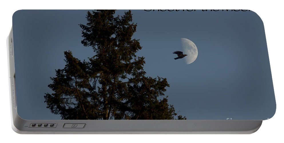 Fir Tree Portable Battery Charger featuring the photograph Shoot For The Moon by Belinda Greb