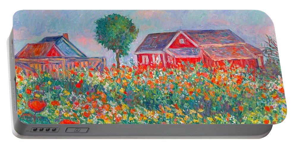 Landscape Portable Battery Charger featuring the painting Shore Flowers by Kendall Kessler