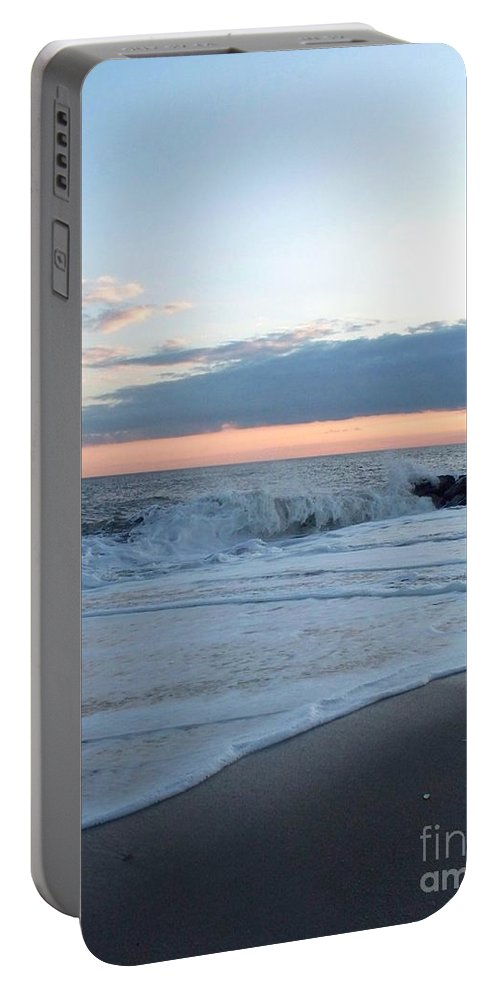 Shoreline Portable Battery Charger featuring the photograph Shoreline And Waves At Cape May by Eric Schiabor