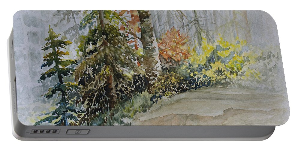 Whiteshell Portable Battery Charger featuring the painting Shoreline Sketch by Joanne Smoley