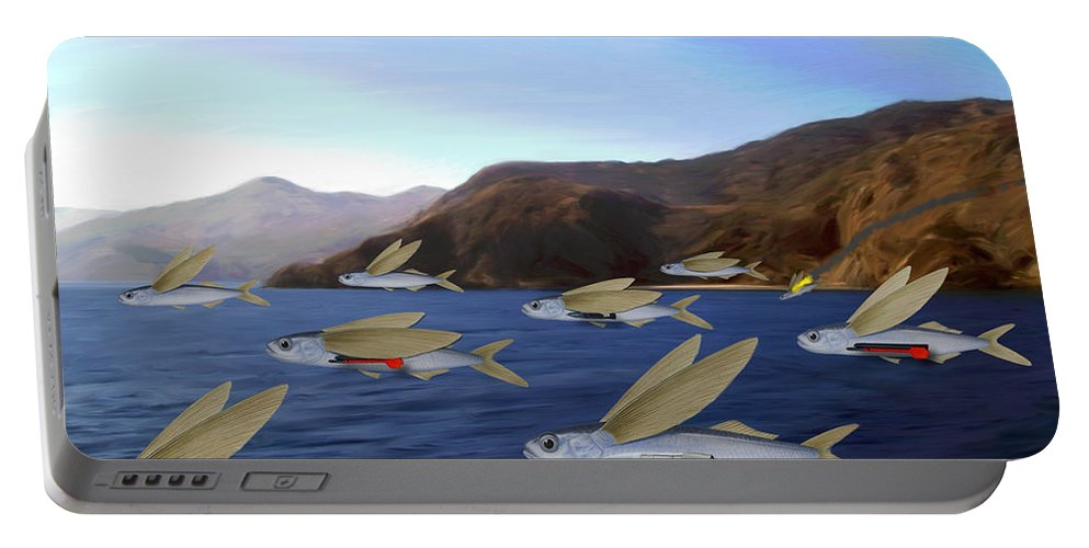 Fish Portable Battery Charger featuring the painting Shoreline Squadron by Snake Jagger