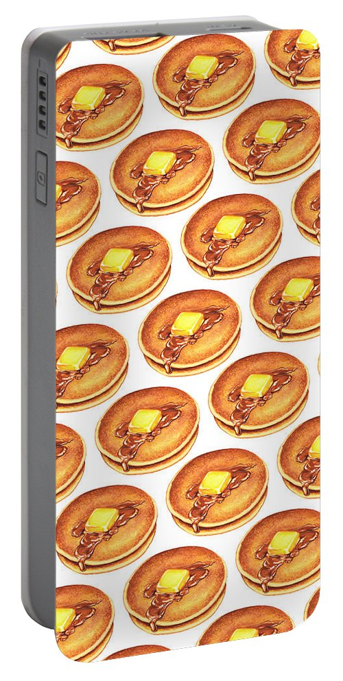 Pancakes Portable Battery Charger featuring the painting Short Stack Pattern by Kelly Gilleran