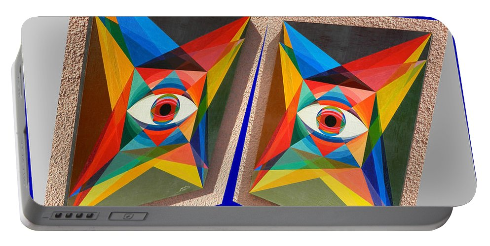 Spirituality Portable Battery Charger featuring the painting Shots Shifted - Le Monde 3 by Michael Bellon