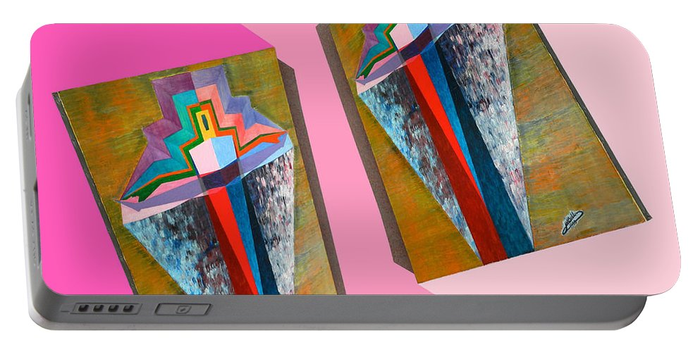 Spirituality Portable Battery Charger featuring the painting Shots Shifted - Metamorphose 6 by Michael Bellon