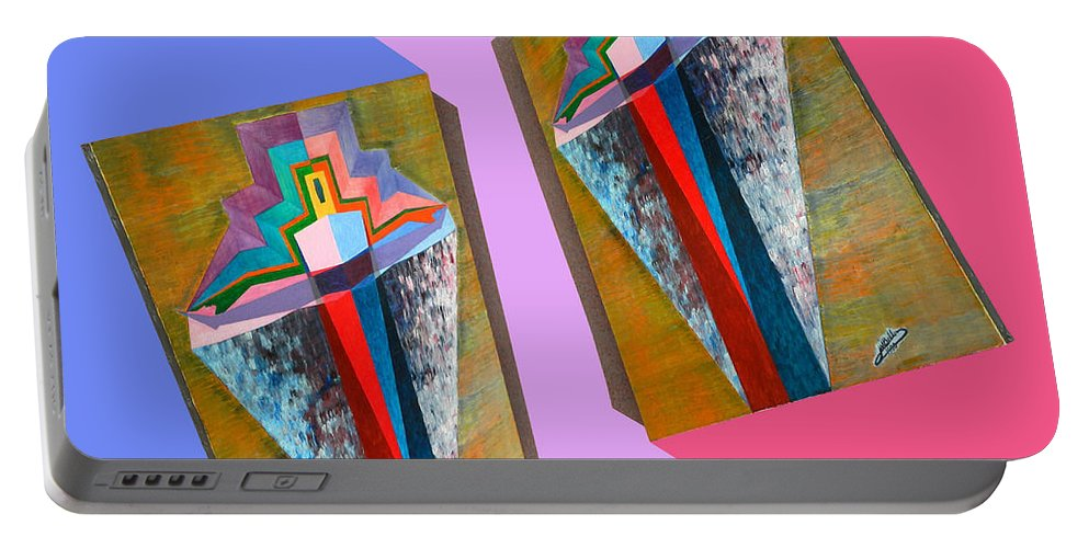 Spirituality Portable Battery Charger featuring the painting Shots Shifted - Metamorphose 7 by Michael Bellon