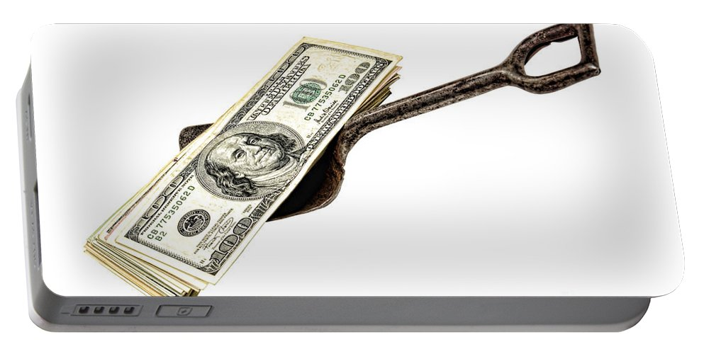 Cash Portable Battery Charger featuring the photograph Shovel Of Dollar by Olivier Le Queinec