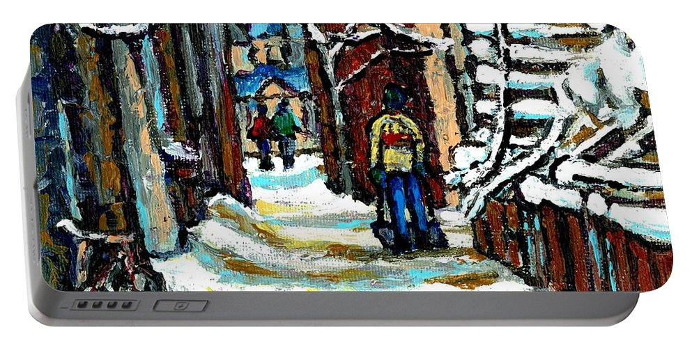 Montreal Portable Battery Charger featuring the painting Shovelling Out After January Storm Verdun Streets Clad In Winter Whites Montreal Painting C Spandau by Carole Spandau