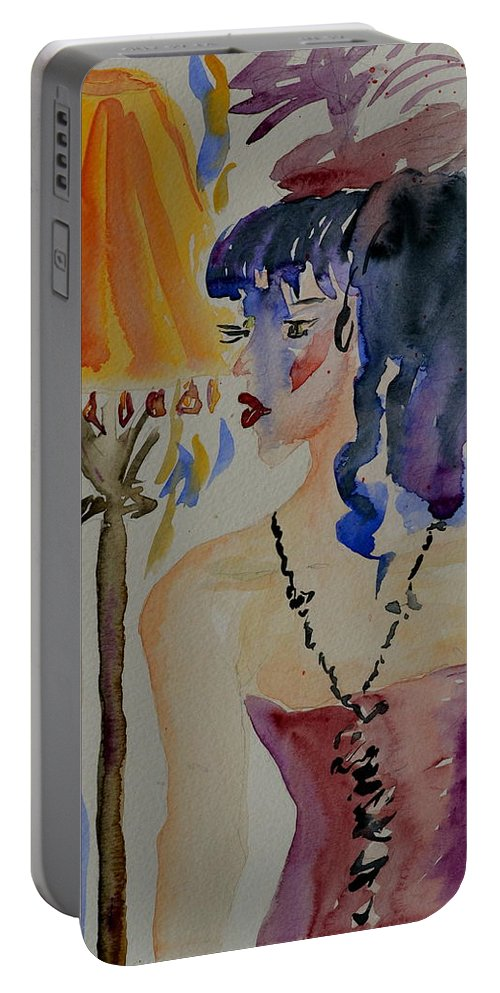 Figure Portable Battery Charger featuring the painting Showgirl by Beverley Harper Tinsley