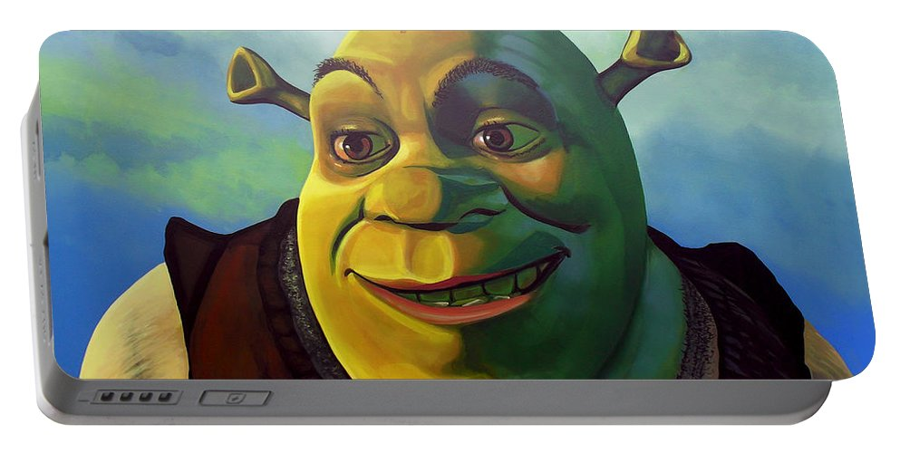 Shrek Portable Battery Charger featuring the painting Shrek by Paul Meijering