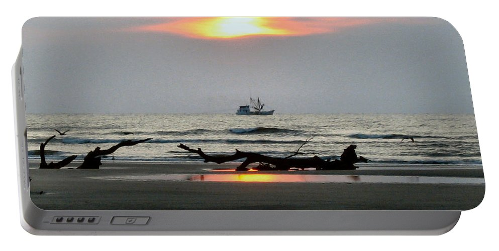 Shrimp Boat Portable Battery Charger featuring the photograph Shrimp Boat At Sunrise by Carol Luzzi
