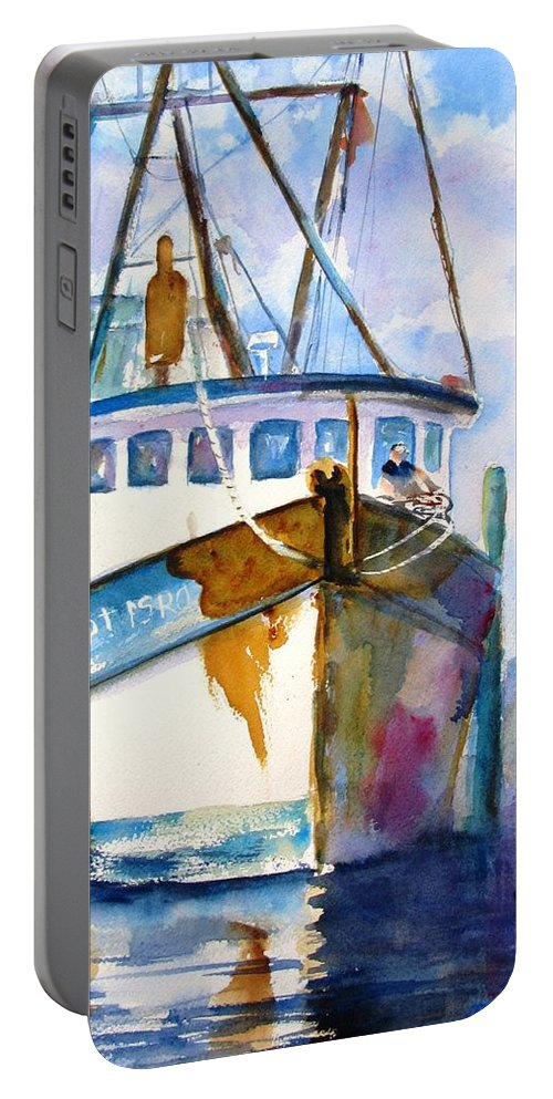 Boat Portable Battery Charger featuring the painting Shrimp Boat Isra by Carlin Blahnik CarlinArtWatercolor