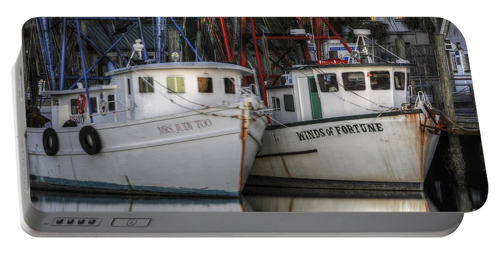 Shrimp Boats Portable Battery Charger featuring the photograph Shrimp Boats Reflecting by Dale Powell