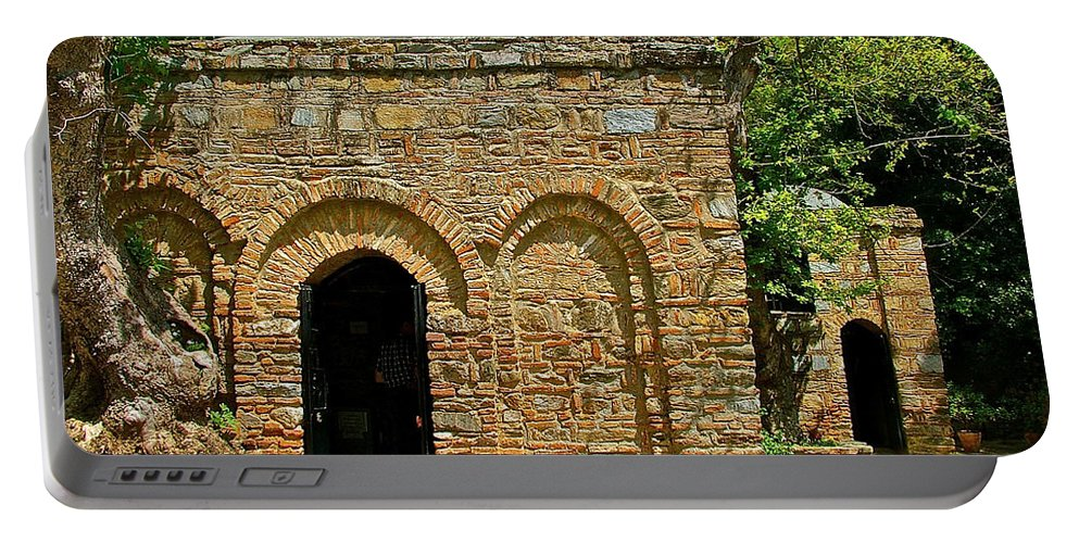 Shrine To Mary-meryem Ana Evi-cottage Portable Battery Charger featuring the photograph Shrine To Mary-meryem Ana Evi-turkey by Ruth Hager
