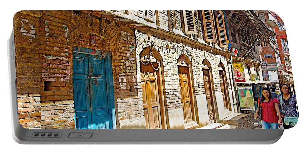 Shutters And Doors Along The Street In Bhaktapur In Nepal Portable Battery Charger featuring the photograph Shutters And Doors Along The Street In Bhaktapur-city Of Devotees-nepal by Ruth Hager