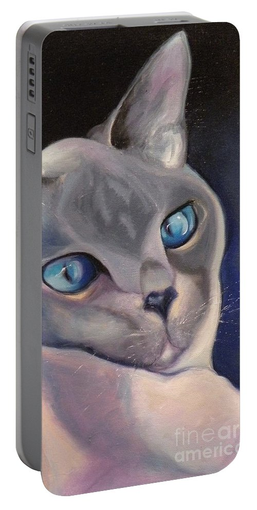 Cat Siamese Greeting Card Portable Battery Charger featuring the painting Siamese In Blue by Susan A Becker