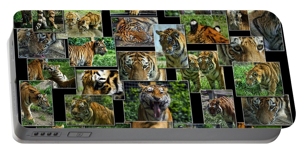 Animals Portable Battery Charger featuring the photograph Siberian Tiger Collage by Thomas Woolworth