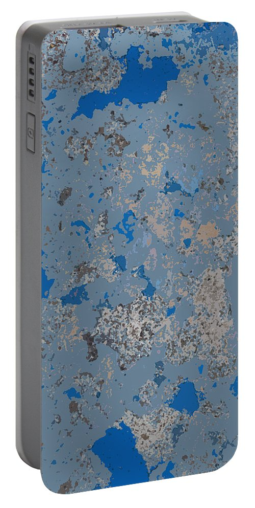Blue Portable Battery Charger featuring the photograph Sidewalk Abstract-17 by Art Block Collections