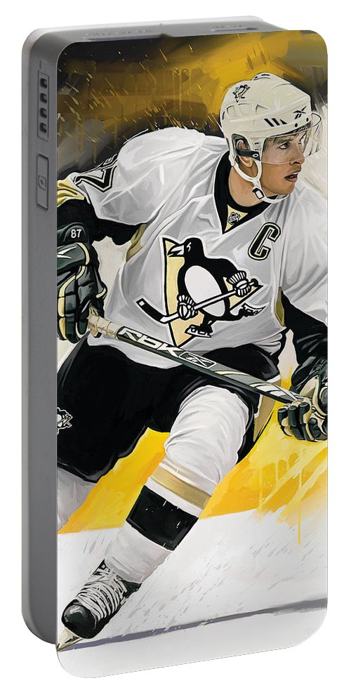 Sidney Crosby Paintings Portable Battery Charger featuring the mixed media Sidney Crosby Artwork by Sheraz A