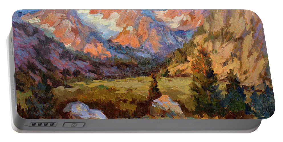 Sierra Nevada Mountains Portable Battery Charger featuring the painting Sierra Nevada Mountains by Diane McClary