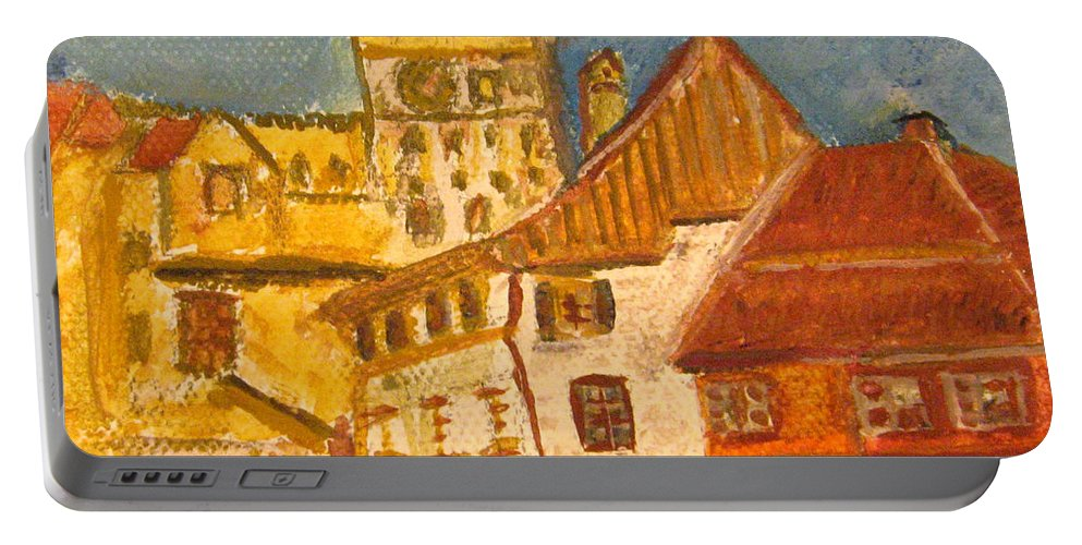 Sighisoara Citadel Portable Battery Charger featuring the painting Sighisoara by Alina Cristina Frent