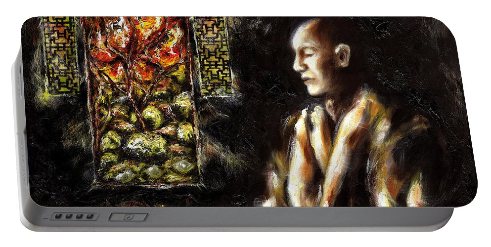 Zen Portable Battery Charger featuring the painting Silence by Hiroko Sakai