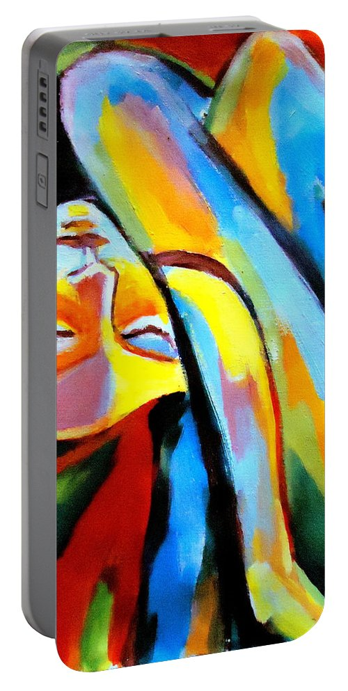 Nude Figures Portable Battery Charger featuring the painting Silenced Desires by Helena Wierzbicki