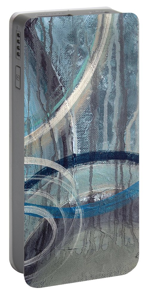 Abstract Portable Battery Charger featuring the painting Silent Drizzle II by Ruth Palmer