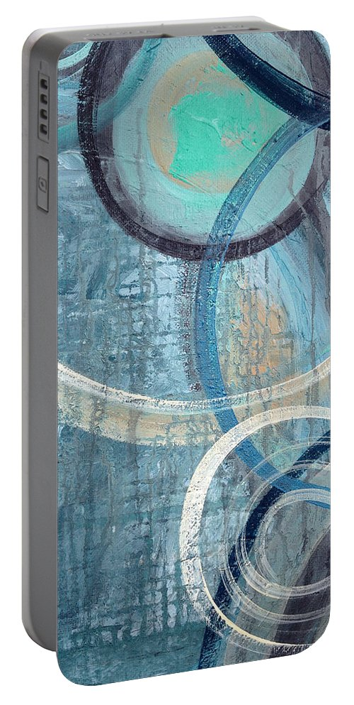 Abstract Portable Battery Charger featuring the painting Silent Drizzle by Ruth Palmer
