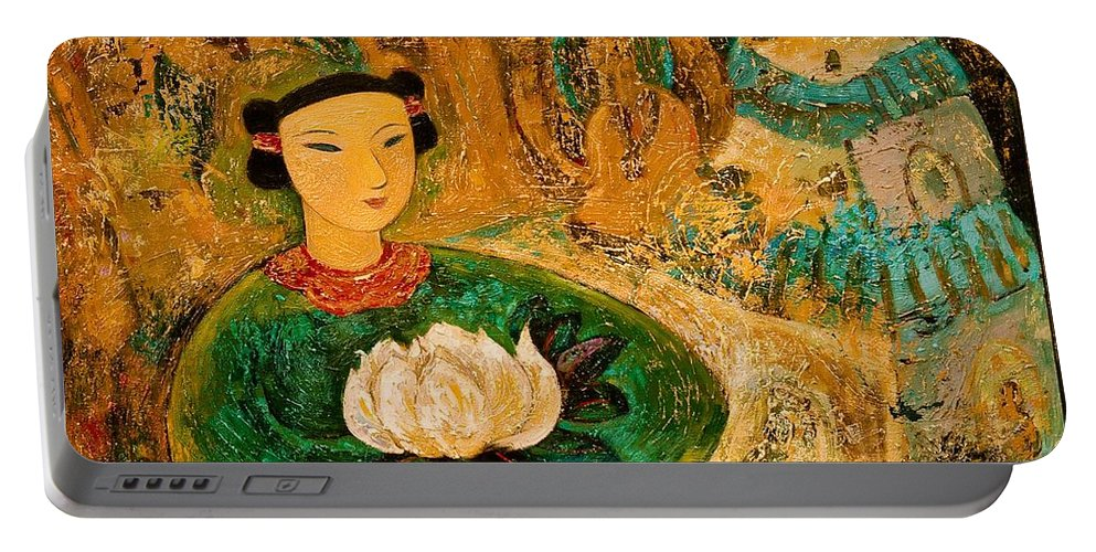 Portrait Portable Battery Charger featuring the painting Silent Lotus by Shijun Munns