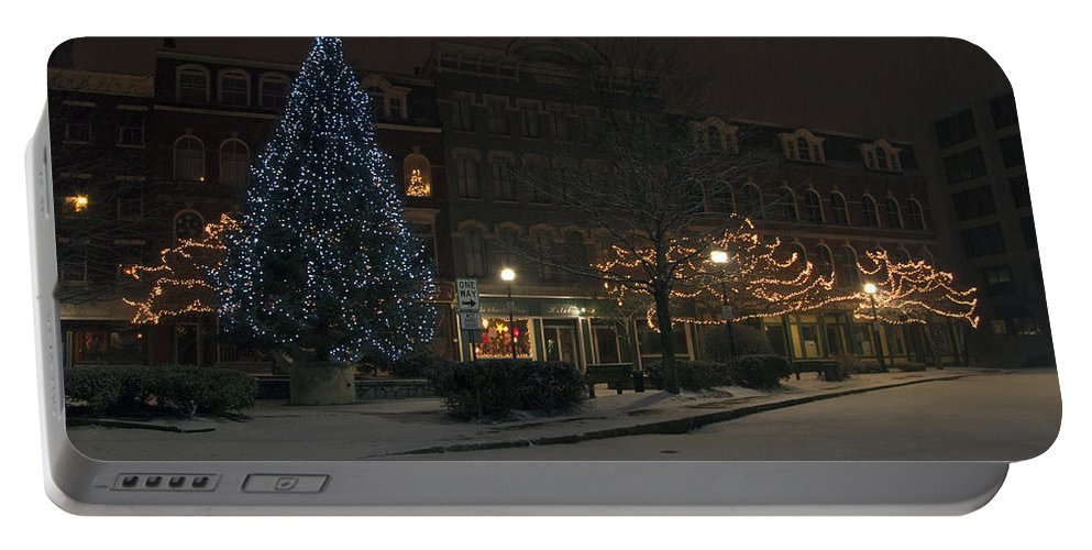 Corner Portable Battery Charger featuring the photograph Silent Night Bangor Maine by Glenn Gordon