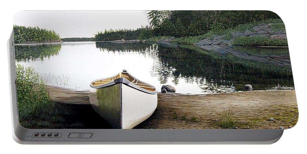 Landscapes Portable Battery Charger featuring the painting Silent Retreat by Kenneth M Kirsch