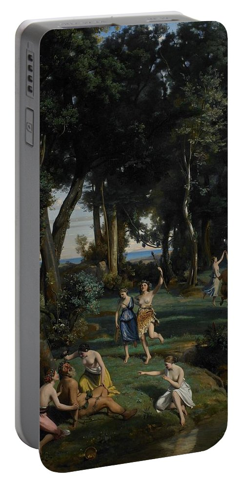 God; Goddess; Goddesses; Landscape; Idyllic; Stream; Idyll; Courting; Courtship; Mythological; Ancient Portable Battery Charger featuring the painting Silenus by Jean Baptiste Camille Corot