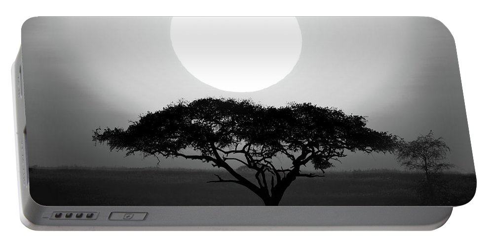 Photography Portable Battery Charger featuring the photograph Silhouette Of A Tree At Sunrise by Panoramic Images