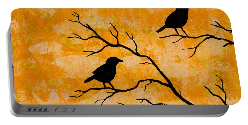 Portable Battery Charger featuring the painting Silhouette Orange by Stefanie Forck